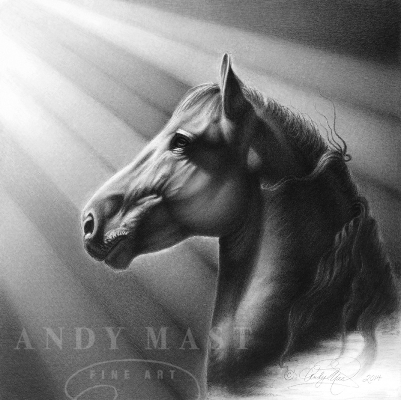 Unbridled, pencil art by Andy Mast