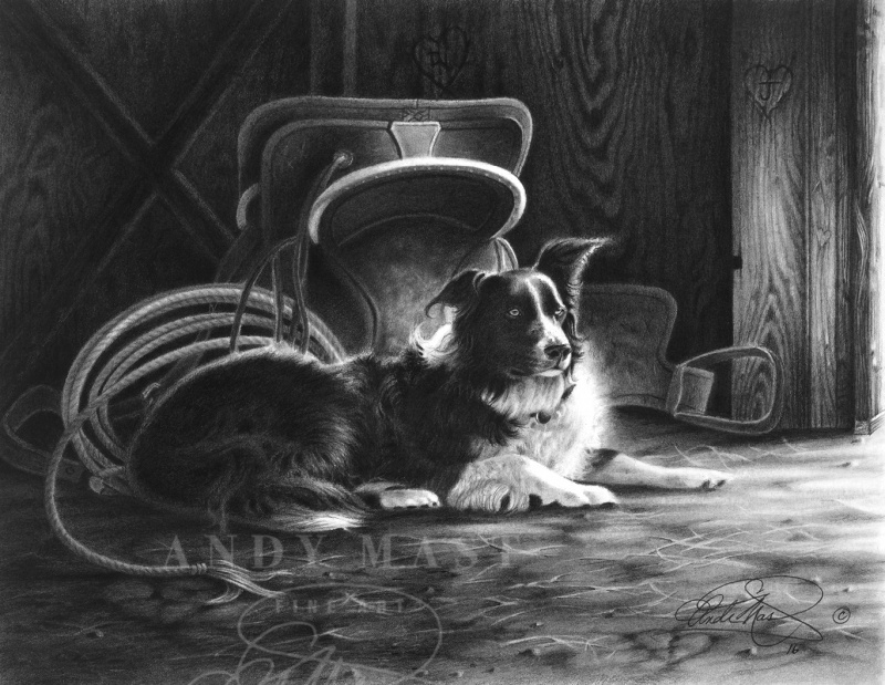 Waiting for the Master, pencil art by Andy Mast